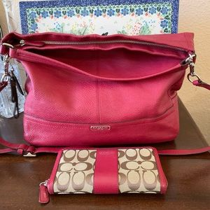 Coach Park Hono red leather bag and wallet EUC